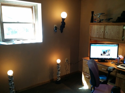 Desk over to window.  Note the cool lamps.  The ones on the floor will ultimately go atop the completed desk.